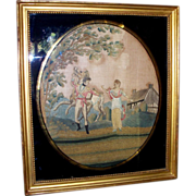 Antique Silk Needlework of an American Soldier , Maiden and Horse ca. 1780s with Original Reve