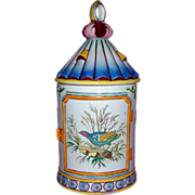 Antique French Faience GIEN Tankard & Lid 'Bird Cage' circa 1870 perfect