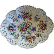 Antique French Faience 'Lille 1767' Center Bowl on Stand   hand-painted flowers.