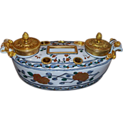 Antique French Porcelain Inkwell Bronze Mounts
