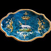 """Large Antique Ulysse Blois G. Bruneau Balon """"Dog"""" Tray"""