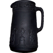 Wedgwood Black Basalt Classical Designs w/ Angel Cherub  Pitcher