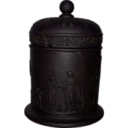 Wedgwood Black Basalt Classical Themes Grecian Women & Winged Cherubs Covered Jar