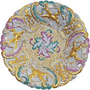 Lovely Antique Meissen Plate / Bowl with Phoenixes & Roses circa 1860