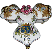 SOLD Antique French Faience  Armorial 'Veuve Perrin' Trefoil Spice Covered Container   Late 18