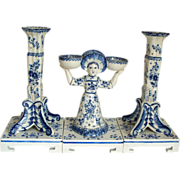 Antique Delft Pair of Candlesticks & Two Girl Salt Holder  18th century..  Marked.
