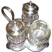 Antique Sterling & Silver Plate Salt & Pepper & Sugar Holder..
