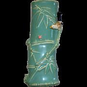 Vintage Chinese Enameled Pottery Wall Pocket  Bamboo Design & Bird & Lady Bug..  circa