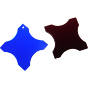 SOLD Pair of Glass Sewing Thread Winders -- Cobalt and Ruby