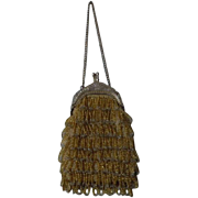 Gorgeous Original Old Amber Gold beaded Purse for antique doll decor