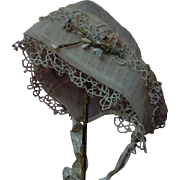 Exquisite Antique organza Cap Bonnet 19th Century for french Bebe Jumeau Bru doll