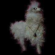 Vintage Mid Century Genuine Alpaca Llama straw stuffed toy for antique doll decor