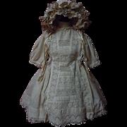 Original Antique 19th century beige cotton Dress w/ Petticoat Hat for german french bisque dol