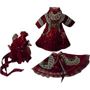 Gorgeous red velvet french Bebe Couturier Costume Dress w/ Petticoat Capelet Hat for antique .