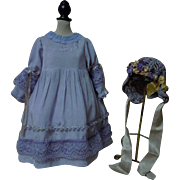 Charming Lilac Lavender taffeta Dress Bonnet for german bisque doll