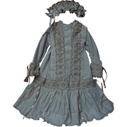 Antique 19th century Victorian Dress w/ Slip Headband for german french bisque doll