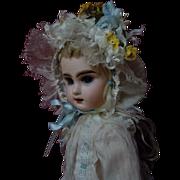 """Gorgeous batiste Dress w/ Petticoat Bonnet for 18"""" antique french Bebe Jumeau cabinet dol"""