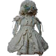 SOLD Gorgeous Taffeta Dress Bonnet Capelet for antique french Bebe doll