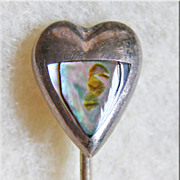 Awesome MEXICAN STERLING & Abalone Taxco Heart Shaped Vintage Stickpin