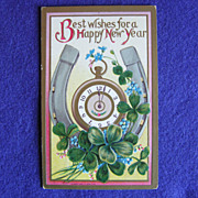 Lucky NEW YEAR Antique Four Leaf Clover & Horseshoe Postcard