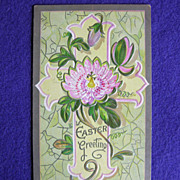 Gorgeous PASSION FLOWER & Cross Antique Estate Estate Postcard