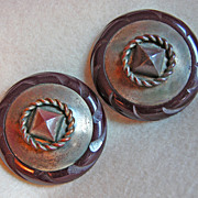 Fabulous CARVED BAKELITE Pair Maroon Red HUGE Large Vintage Old Estate BUTTONS