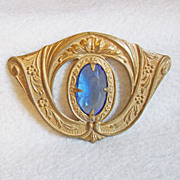 Ornate VICTORIAN Blue Glass Antique Estate Sash Pin Brooch