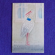 Gorgeous STORK & BABY Antique Victorian Estate Postcard