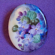Fabulous VICTORIAN Huge Antique Porcelain VIOLETS Estate Brooch