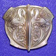 Fabulous ART NOUVEAU Signed  Antique Estate Sash or Belt Buckle