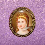 Gorgeous Antique Porcelain LADY Brooch