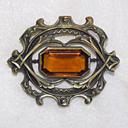 Antique Amber Glass & Brass Victorian Ornate Estate Sash Pin Brooch
