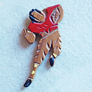 Awesome FOOTBALL PLAYER Hand Carved Wood Vintage Old Estate Pin Brooch