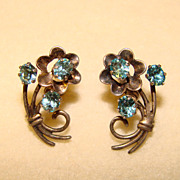 Gorgeous 1940's STERLING & Aqua Crystal Stones Earrings
