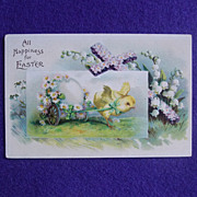 Antique CHICK PULLS EGG CART Signed Estate Postcard
