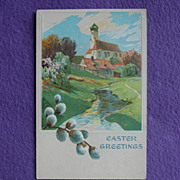 Antique CHURCH & PUSSYWILLOW Easter Estate Postcard