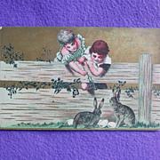 Antique Children TEASE RABBITS Easter Estate Postcard