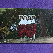 Humorous FOUR QUEENS ON A JACK Vintage Comic Estate Postcard