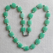 Gorgeous CARVED STONE BEADS Vintage Necklace