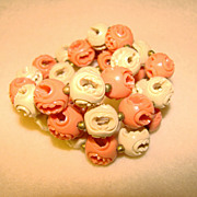 Fabulous CARVED CELLULOID Coral & Cream Colored Bead Necklace