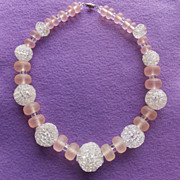 Fabulous SPUN GLASS Beads & Pink Frost Bead Vintage Estate Necklace
