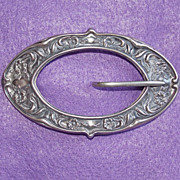 Fabulous VICTORIAN STERLING Front Art Nouveau Antique Estate Sash Pin Brooch