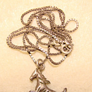 Awesome STERLING ITALY Vintage Horse Pendant Necklace