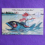 Hilarious TAKEN FOR A RIDE Vintage Estate Linen Postcard