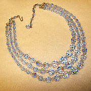 Fabulous BLUE AURORA CRYSTAL 3 Strand Vintage Estate Necklace
