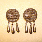 Awesome MEXICAN STERLING Vintage Dangle Earrings