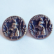 Antique Geisha Pair of Picture Story Estate Buttons
