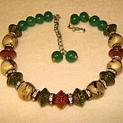 Fabulous ART GLASS & Rhinestone Bead Vintage Necklace