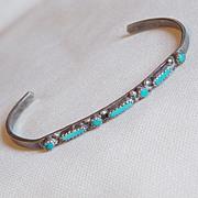 Baby Sterling & Turquoise Needlepoint Childs Vintage Estate Bracelet