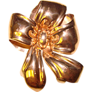 Fine MONET STERLING Pink Gold Finish Puffy Bow Brooch